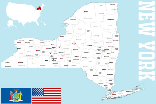 A large and detailed map of the State of New York with all counties and main cities.