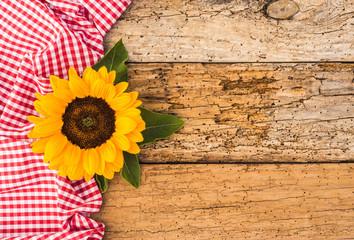 Blume mit Stoff Kariert Rot-Weiß auf Holz Hintergrund Rustikal