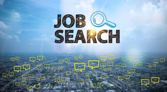 JOB SEARCH text on city and sky background with bubble chat ,bus