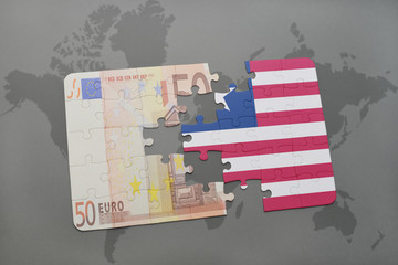 puzzle with the national flag of liberia and euro banknote on a world map background.