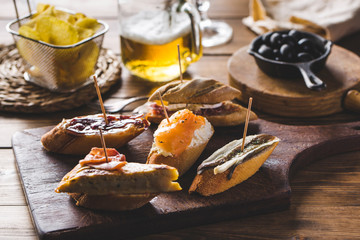 Typical Spanish Tapas on the Restaurant Counter Top