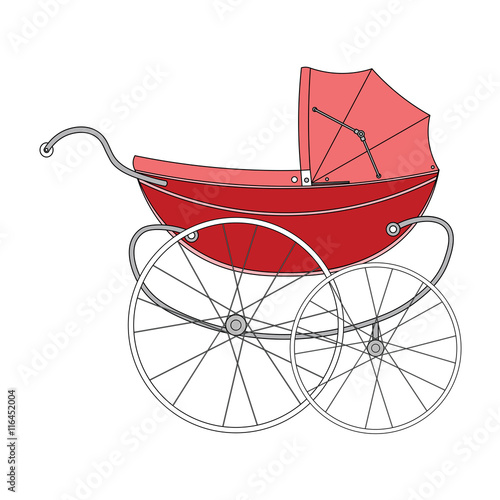39e7039b0 Vintage red old authentic vintage stroller with big wheels for ...