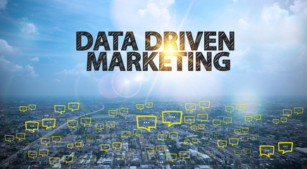 DATA DRIVEN MARKETING  text on city and sky background