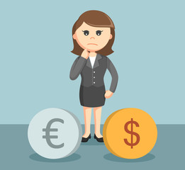 businesswoman confused to choose dollar and euro