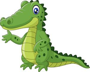 Happy crocodile cartoon waving hand