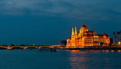 Parliament Building in Budapest at night.