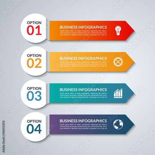 infographic options banner with 4 arrows steps parts vector