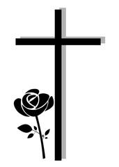 Kreuz mit moderner Rose