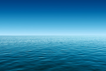 calm blue sea and gradient blue sky background Wall mural