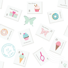 Birthday seamless pattern background with postage stamps. Girly.