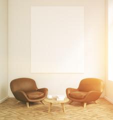 Room with armchairs sun light