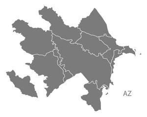 Azerbaijan regions Map grey