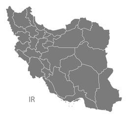 Iran provinces Map grey