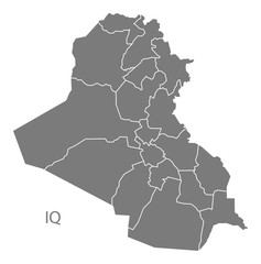 Iraq governorates Map grey