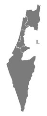 Israel with districts Map grey