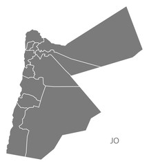 Jordan governorates Map grey
