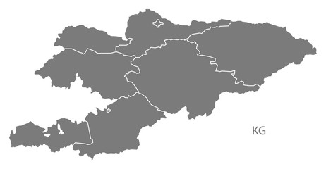 Kyrgyzstan provinces Map grey