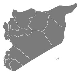 Syria governorates Map grey