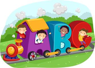 Stickman Kids Train