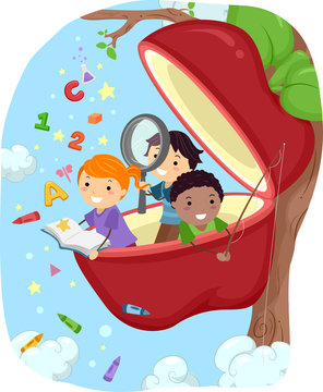 Stickman Kids Apple Tree