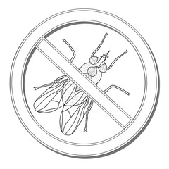 Sign ban fly. Stop sign of an insect. Vector illustration