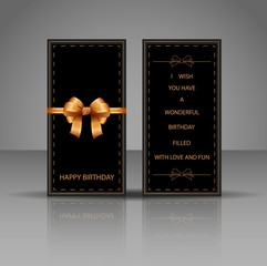 Birthday card with golden bow