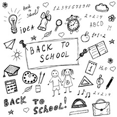 Back to school doodles. Hand drawn school icons set. Sketch school icons set. Vector illustration.