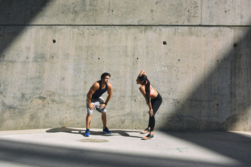 Young Couple During Street Workout in a Summer Day