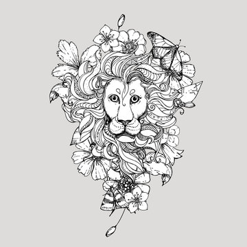 Hand drawn vector illustration of doodle lion with flowers and butterfly. sketch. Vector eps 8