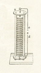 Voltaic pile (from Meyers Lexikon, 1895, 7/46)