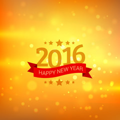 happy new year card in golden bokeh background