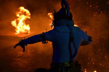 The Kecak Fire Dance at Uluwatu Temple, Bali, Indonesia..