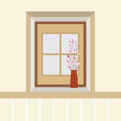 Flowers In Vase On The Windowsill Vector Illustration.