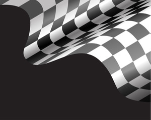 Checkered flag flying on black design for race background vector illustration.