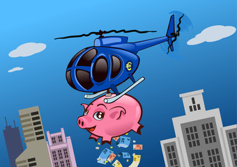 Helicopter throwing money over the city from a piggy bank. A solution for financial crisis (euro version)