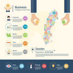 Business Infographic with gears,Sweden map