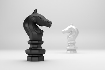 Knight chess confront black and white on white background 3d ren