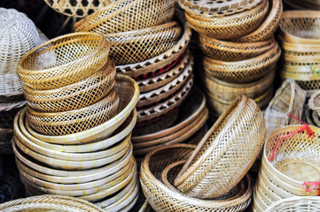 Handicraft Basket Made From Nature Source, Bamboo, Rattan