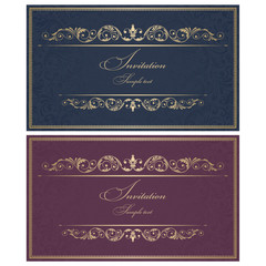 Wedding Invitation cards in an old-style blue, vinous and gold