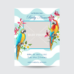 Baby Arrival Card with Photo Frame - Tropical Flowers and Parrots