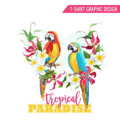 Foto op Canvas Papegaai Tropical Graphic Design. Parrot Bird and Tropical Flowers. T-shirt Graphic
