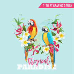 Tropical Graphic Design. Parrot Bird and Tropical Flowers. T-shirt Graphic