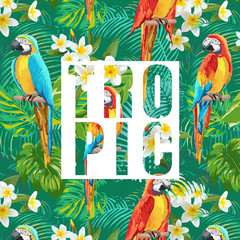 Tropical Flowers and Parrot Birds Exotic Background. Vector Banner