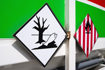 Gefahrgutpiktogramme entzündbar und umweltgefährdend