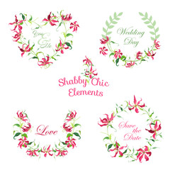 Tropical Flower Banners and Tags - for your design and scrapbook