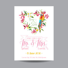 Save the Date. Wedding Card.  Tropical Flowers and Parrot Bird.