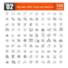 Set of big data seo and cloud computer concept for  web design a