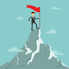 Success businessman stand on the top of the mountain with red fl