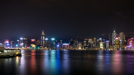 Fotomurales - City at Night - Victoria Harbor of Hong Kong