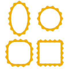 Set of Different Yellow Frames Isolated on White Background